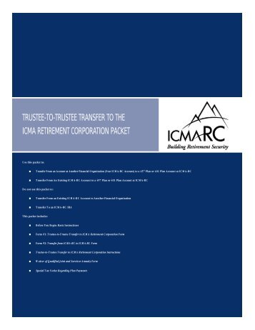 Trustee-to-Trustee Transfer to ICMA Retirement - City of Scottsdale