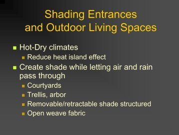 Shading Entrances and Outdoor Living Spaces