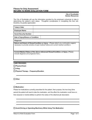 Return To Work Medical Evaluation Form Procedures