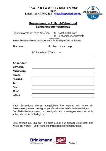F A X – A N T W O R T - SC Paderborn 07