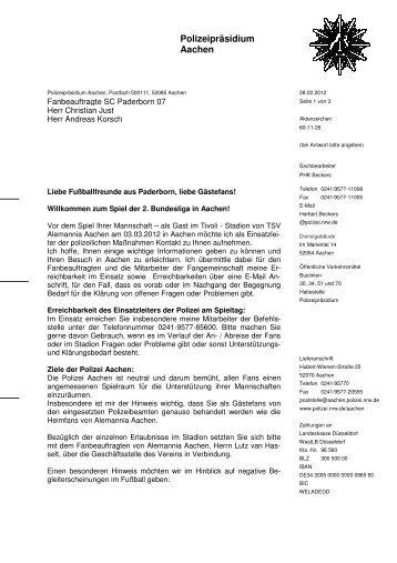 Polizeipräsidium Aachen - SC Paderborn 07