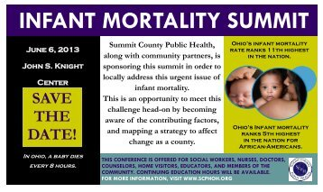 INFANT MORTALITY SUMMIT - Summit County Public Health