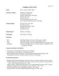 CURRICULUM VITAE - The University of Scranton