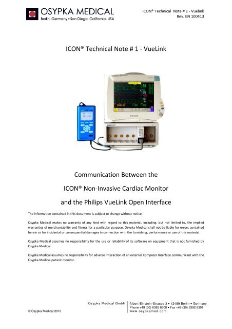 ICON Technical Note # 1 -
