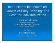 Instructional Influences on Growth of Early Reading: The Case for ...