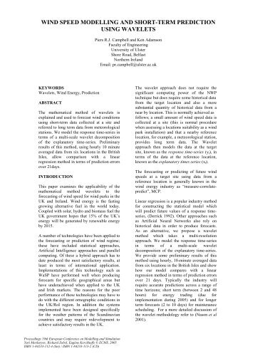 wind speed modelling and short-term prediction using ... - Introduction