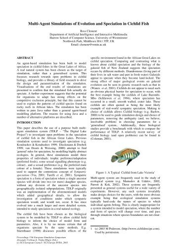 Multi-Agent Simulations of Evolution and Speciation in Cichlid Fish