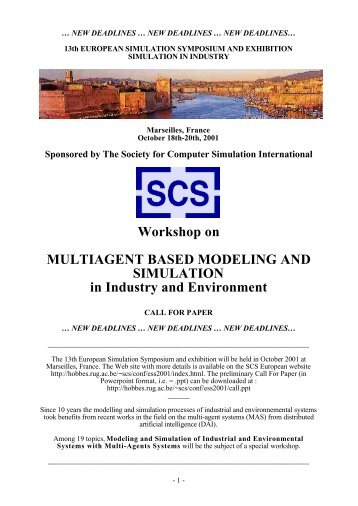 Multi-Agent Modelling and Simulation in Industry and the Environment