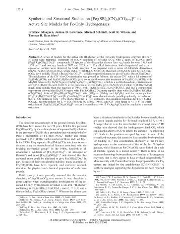Synthetic and Structural Studies on [Fe2(SR)2(CN)x(CO)6-x]