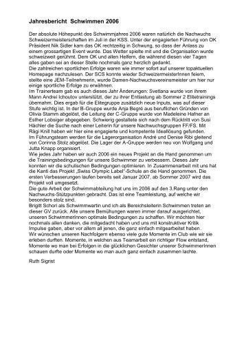 Jahresbericht Schwimmen 2006 - Schwimmclub Schaffhausen