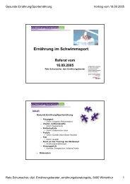 Ernährung im Schwimmsport Referat vom 16.09.2005