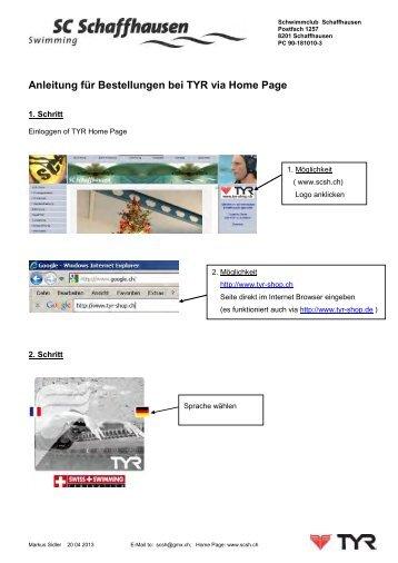 Anleitung Bestellung bei TYR via Home Page - Schwimmclub ...