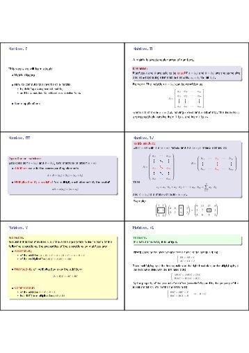 Matrices. I Matrices. II Matrices. III Matrices. IV Matrices. V Matrices. VI