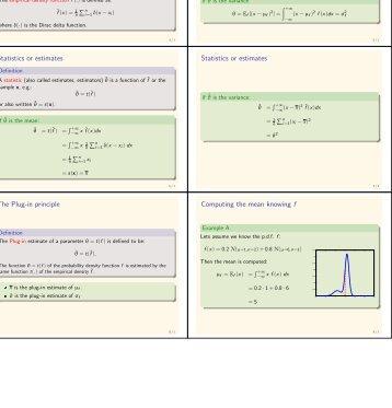 The Empirical density function Parameters Statistics or estimates ...
