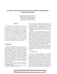 Automatic Content Segmentation of audio recordings - School of ...