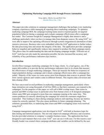 Optimizing Marketing Campaign ROI through Process Automation ...