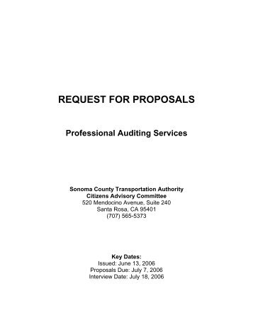request for proposals - Sonoma County Transportation Authority