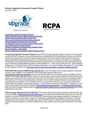 Energy Upgrade in Sonoma County E-News October 2010