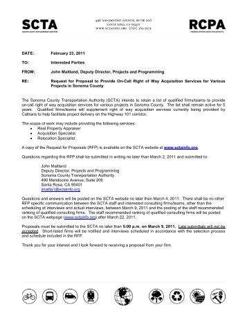 Request for Proposals to Provide On-Call Right of Way Acquisition ...