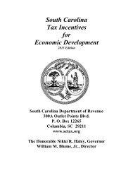 SC Tax Incentives for Economic Development - the South Carolina ...