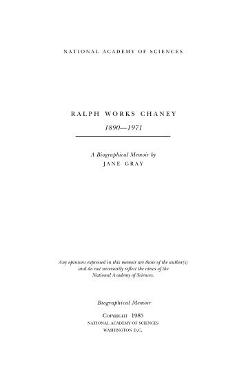 RALPH WORKS CHANEY - The National Academies Press