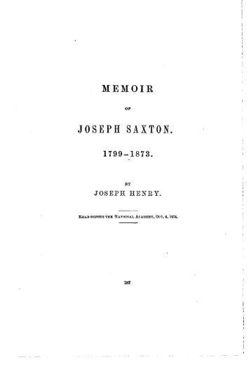 JOSEPH SAXTON. - National Academy of Sciences
