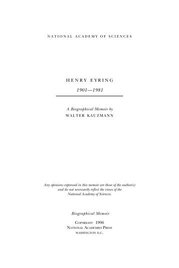 HENRY EYRING - National Academy of Sciences