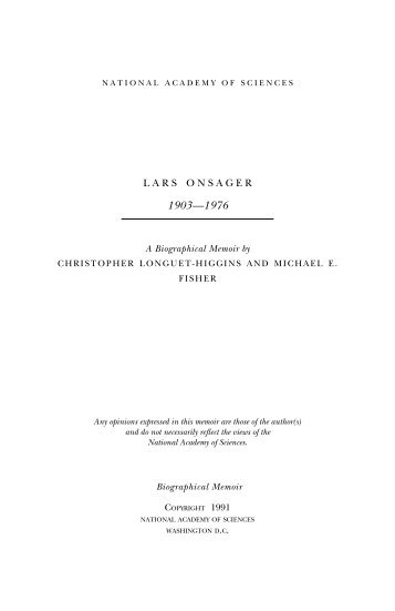 LARS ONSAGER - The National Academies Press