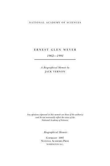 ERNEST GLEN WEVER - National Academy of Sciences