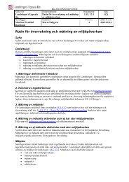 Rutin för övervakning och mätning av miljöpåverkan - Landstinget i ...