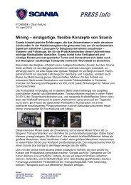 Mining - einzigartige, flexible Konzepte von Scania
