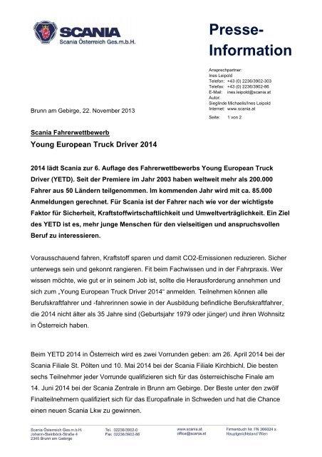 Presse- Information - Scania Österreich Ges.mbH