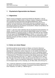 1. Physikalische Eigenschaften des Wassers 1.1 Allgemeines 1.2 ...