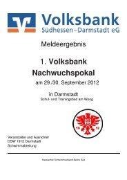 1. Volksbank Nachwuchspokal - Schwimm-Club Wiesbaden 1911 eV