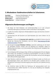 5. Wiesbadener Stadtmeisterschaften im Schwimmen Allgemeine ...