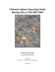 Chinook Salmon Spawning Study, - Sonoma County Water Agency