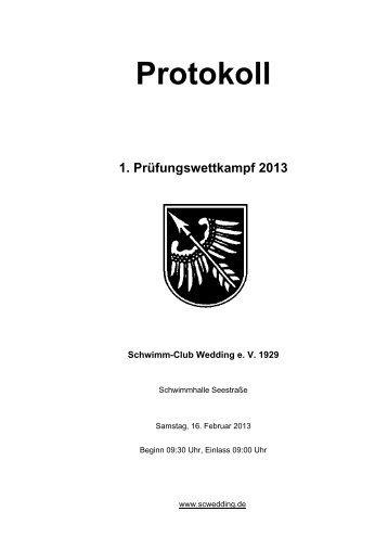 Protokoll 1. Prüfungswettkampf 2013.pdf - Schwimm-Club Wedding ...