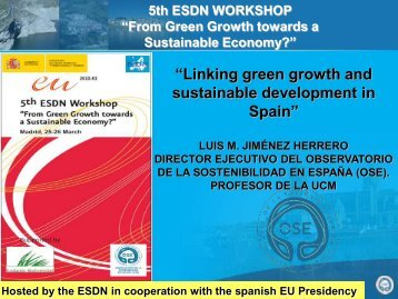 """Linking green growth and sustainable development in Spain"""