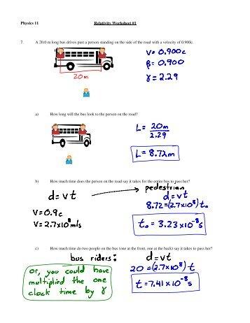 Physics 11 Relativity Worksheet #1 7. A 20.0 m long bus drives past ...