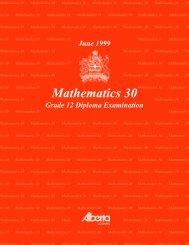 Mathematics 30 June 1999 Grade 12 Diploma Exam