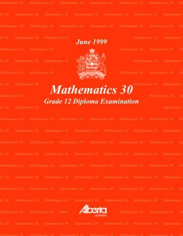 Mathematics 30 June 1999 Grade 12 Diploma Exam