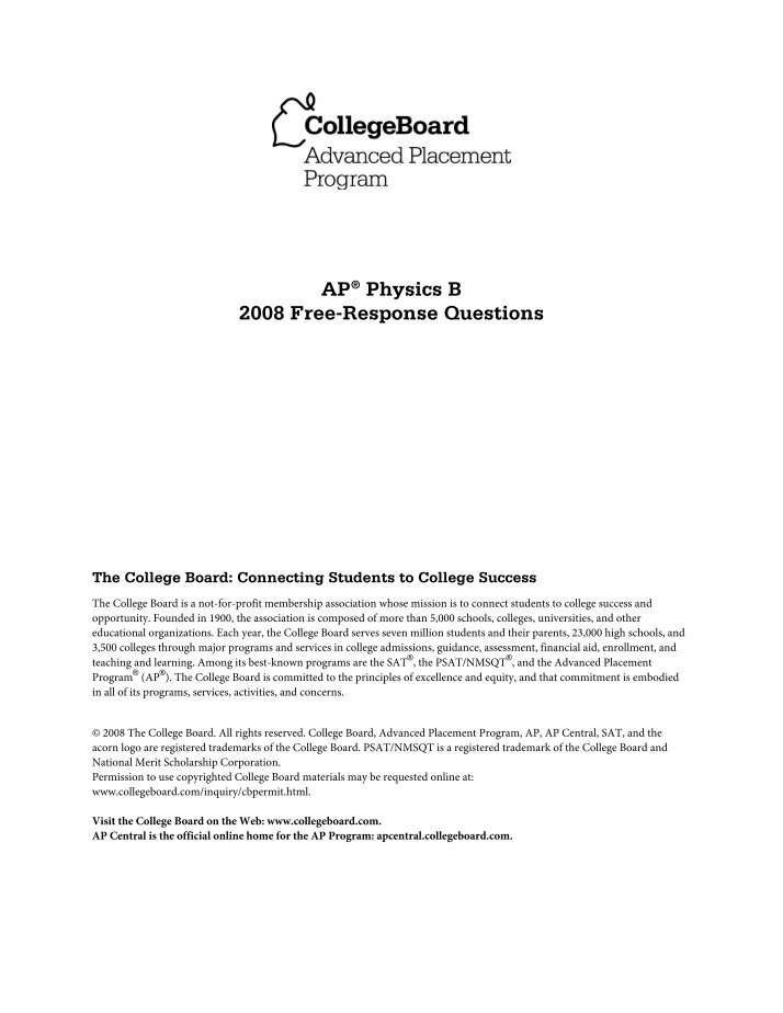 2008 ap bio essay questions The advanced placement or ap biology essay is a compulsory section ii paper for a high school student to pass a college introductory biology course that is equivalent to first year biology major.