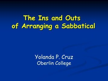 The Ins and Outs of Arranging a Sabbatical - Society for ...