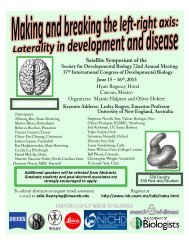 Satellite Symposium of the - Society for Developmental Biology