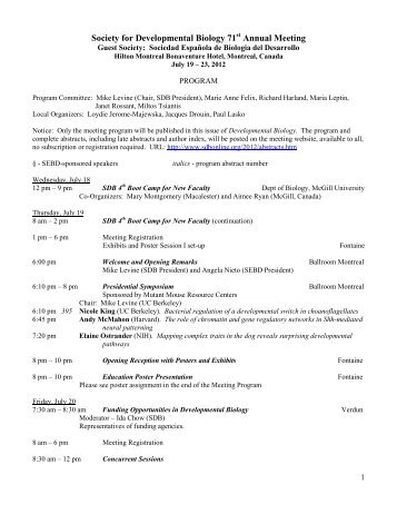 Final Program - Society for Developmental Biology