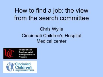 How to find a job: the view from the search committee - Society for ...