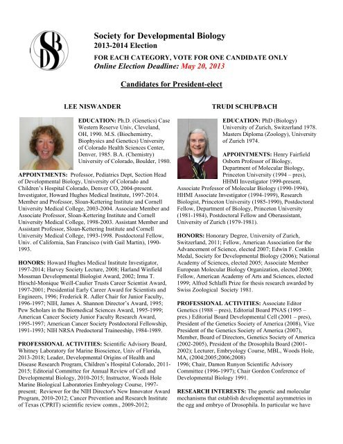 Call for Nominations for 2013 SDB Elections - Society for