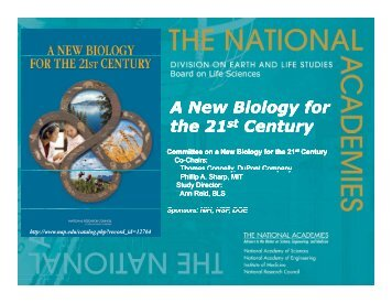 A New Biology for the 21st Century A New Biology for the 21st Century