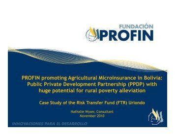Profin Promoting Agricultural Micro Insurance in Bolivia - Sdc ...