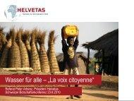 """Wasser für alle – """"La voix citoyenne"""" - SDC Water Network"""